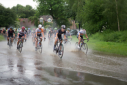 Dani King (GBR) of Wiggle Hi5 Cycling Team leads the chase through the flooded roads during the Aviva Women's Tour 2016 - Stage 2. A 140.8 km road race from Atherstone to Stratford upon Avon, UK on June 16th 2016.