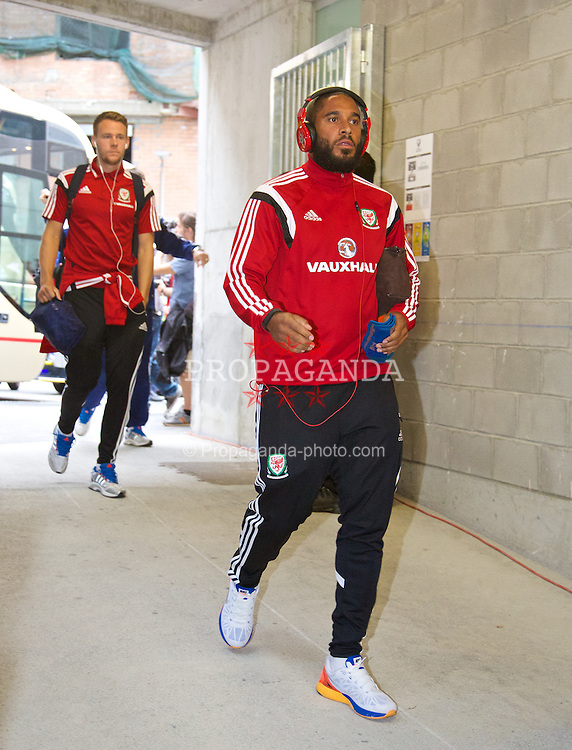 ANDORRA LA VELLA, ANDORRA - Tuesday, September 9, 2014: Wales' captain Ashley Williams arrives before the opening UEFA Euro 2016 qualifying match against Andorra at the Camp d'Esports del M.I. Consell General. (Pic by David Rawcliffe/Propaganda)