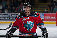 KELOWNA, CANADA - OCTOBER 5:  Henrik Nyberg #21 of the Kelowna Rockets stands on the ice at the bench during a time out against the Portland Winterhawks  at the Kelowna Rockets on October 5, 2013 at Prospera Place in Kelowna, British Columbia, Canada (Photo by Marissa Baecker/Shoot the Breeze) *** Local Caption ***