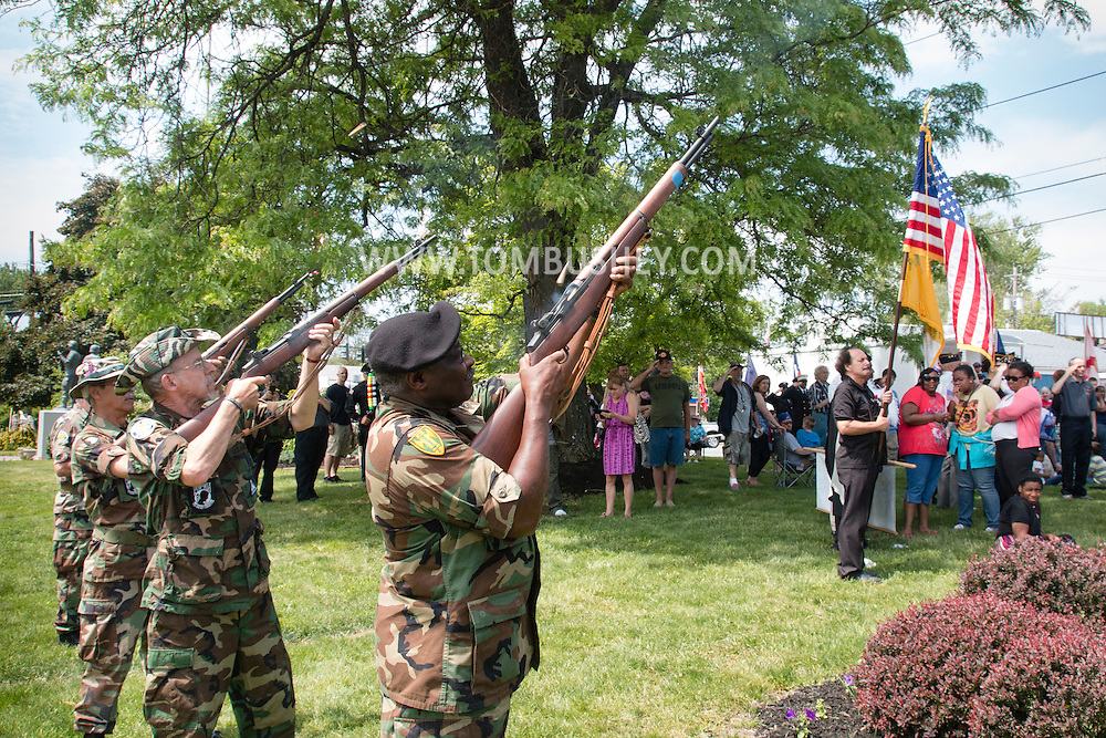 Town of Wallkill, New York - Veterans fire rifles during the Middletown-Town of Wallkill Memorial Day ceremonies at Town of Wallkill Veterans Park on May 25, 2015.