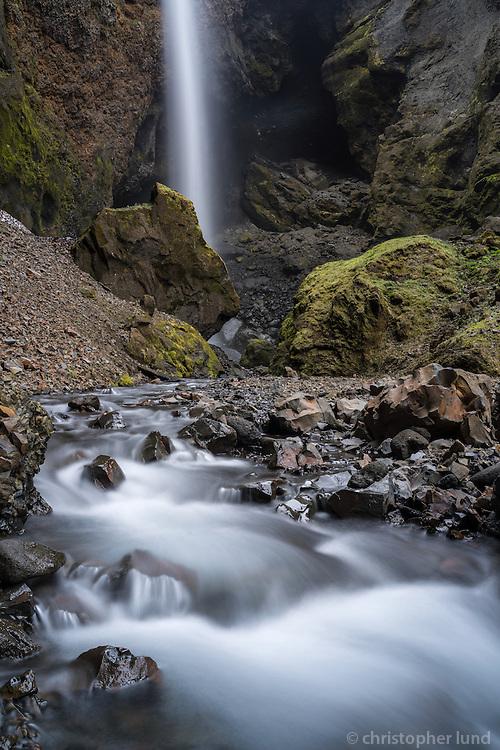 Remundargilsfoss waterfall in Remundargil canyon. South Iceland.