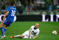 Miso Brecko of Slovenia injured during EURO 2012 Quaifications game between National teams of Slovenia and Italy, on March 25, 2011, SRC Stozice, Ljubljana, Slovenia. Italy defeated Slovenia 1-0.  (Photo by Vid Ponikvar / Sportida)