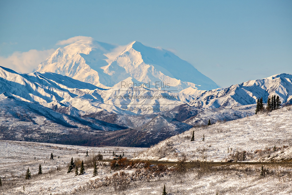 An early season snow dusts Denali mountain, also known as Mt McKinley in Denali National Park, McKinley Park, Alaska.