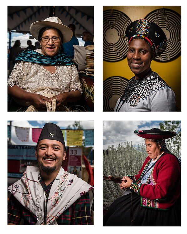 rer071517a/Metro/July 15, 2017/Albuquerque Journal<br /> Pictured clockwise are artists from the 2017 Santa Fe International Folk Art Market: Maria Cochancela(Cq) a hat maker from Ecuador, Angeline Masuku(Cq) master weaver form South Africa, Sandeep Pokhrel(Cq) traditional weaver from Nepal, and Juana Pumayalli(Cq)from Peru.  This year like so many before it brought thousand of visitors from around the country.  <br /> Albuquerque, New Mexico Roberto E. Rosales/Albuquerque Journal Photo by Roberto E. Rosales