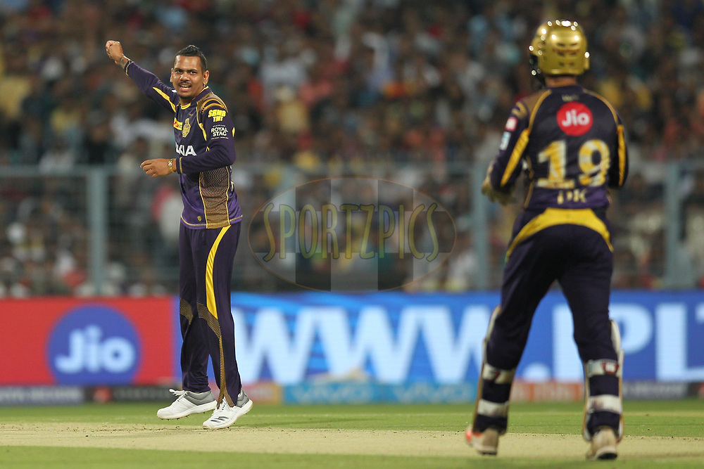 Sunil Narine of the Kolkata KnightRiders celebrates the wicket of Wriddhiman  Saha of the Sunrisers Hyderabad during match ten of the Vivo Indian Premier League 2018 (IPL 2018) between the Kolkata Knight Riders and the Sunrisers Hyderabad held at the Eden Gardens Cricket Stadium in Kolkata on the 14th April 2018.<br /> <br /> Photo by: Deepak Malik / IPL/ SPORTZPICS