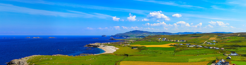 View looking East from Banba's Crown, Malin Head towards Ballyhillin Beach and on towards Knocknamanagh.<br /> <br /> Image composed of 7 photos at 50mm in portrait orientation. You can zoom in and take a closer look to see what this could look like on your wall here http://adambrooks.photoshelter.com/#!/p/I00003ugkn4jjx4U<br /> <br /> Available in sizes ranging from 8&quot;x28&quot; - 20&quot;x70&quot; (20cmx71cm - 51cmx178cm).