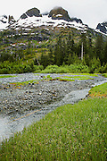Mountains, grass, and stream, Prince William Sound, AK