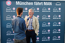 19.08.2014, Allianz Arena, Muenchen, GER, 1. FBL, FC Bayern Muenchen, Praesentation Mannschaftsbus Lions Coach, im Bild Paul Breitner (Markenbotschafter) beim Interview // during the Presentation of the Lions Coach of German Bundesliga Club FC Bayern Munich at the Allianz Arena in Muenchen, Germany on 2014/08/19. EXPA Pictures © 2014, PhotoCredit: EXPA/ Eibner-Pressefoto/ Kolbert<br /> <br /> *****ATTENTION - OUT of GER*****