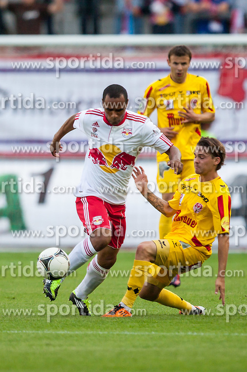 "10.05.2012, Red Bull Arena, Salzburg, AUT, 1. FBL, Red Bull Salzburg vs KSV 1919, 34. Spieltag im Bild Leonardo, (Red Bull Salzburg, #30), David Harrer, (Kapfenberger SV 1919, #5), Michael Hanek, (Kapfenberger SV 1919, #34) // during the Austrian ""Bundesliga"" Match, 34th Round, between FC Red Bull Salzburg and KSV 1919 at the Red Bull Arena, Salzburg, Austria on 2012/05/10. EXPA Pictures © 2012, PhotoCredit: EXPA/ Juergen Feichter"
