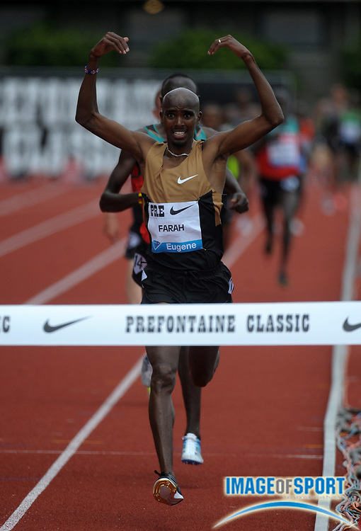 Jun 2, 2012; Eugene, OR, USA; Mo Farah (GBR) celebrates after winning the 5,000m in a meet record 12:56.98 at the 2012 Prefontaine Classic at Hayward Field.