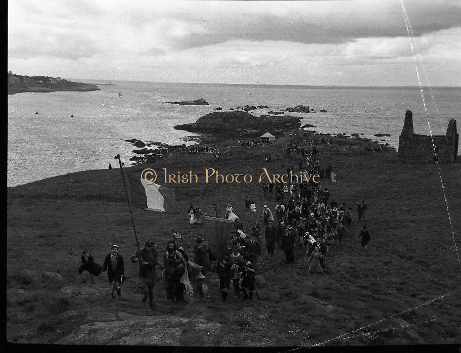 """Dalkey  Island, Co Dublin, Ireland.- Crowning the King of the Dalkey Island by Members of CARA.18/07/1954<br /> <br /> The Island has been occupied at various times in prehistory (possibly as long as 6000 years there is an early 7th century Christian Church, St Begnet's)<br /> <br /> In the late 18th century a mock title of """"King of Dalkey"""" was created to poke fun at the pomposities of the government of the day."""