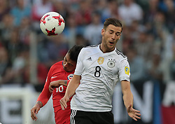 July 2, 2017 - Saint Petersburg, Russia - Gonzalo Jara (L) of the Chile national football team and Leon Goretzka of the Germanyl national football team vie for the ball during the 2017 FIFA Confederations Cup final match between Chile and Germany at Saint Petersburg Stadium on July 02, 2017 in St. Petersburg, Russia. (Credit Image: © Igor Russak/NurPhoto via ZUMA Press)