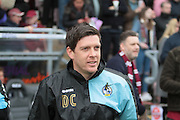 Bristol Rovers manager Darrell Clarke looking nervous before the Sky Bet League 2 match between Northampton Town and Bristol Rovers at Sixfields Stadium, Northampton, England on 9 April 2016. Photo by Nigel Cole.