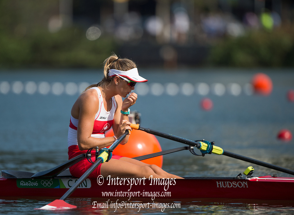 Rio de Janeiro. BRAZIL.  CAN W1X, Carling ZEEMAN, at the start of her heat at the 2016 Olympic Rowing Regatta. Lagoa Stadium,<br /> Copacabana,  &ldquo;Olympic Summer Games&rdquo;<br /> Rodrigo de Freitas Lagoon, Lagoa. Local Time 09:51:25  Saturday  06/08/2016 <br /> [Mandatory Credit; Peter SPURRIER/Intersport Images]
