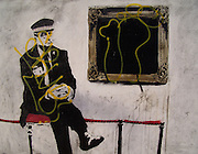 Banksy Street Artist. Museum Guard on Hackney Road E2 near Shoreditch High St London..PIC JAYNE RUSSELL. 26.05.2008