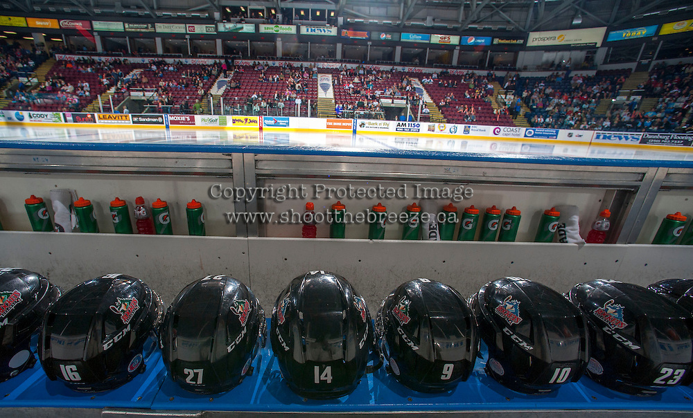 KELOWNA, CANADA - SEPTEMBER 21:  Helmets of Kelowna Rockets players line the bench prior to the regular season home opener at the Kelowna Rockets on September 21, 2013 at Prospera Place in Kelowna, British Columbia, Canada (Photo by Marissa Baecker/Shoot the Breeze) *** Local Caption ***