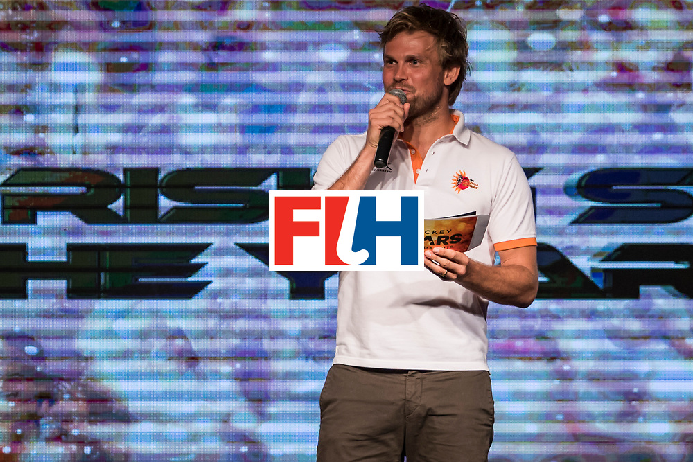 CHANDIGARH, INDIA - FEBRUARY 23: Moritz Fuerste, FIH Athletes Committee Representative speaks during the FIH Hockey Stars Awards 2016 at Lalit Hotel on February 23, 2017 in Chandigarh, India. (Photo by Ali Bharmal/Getty Images for FIH)