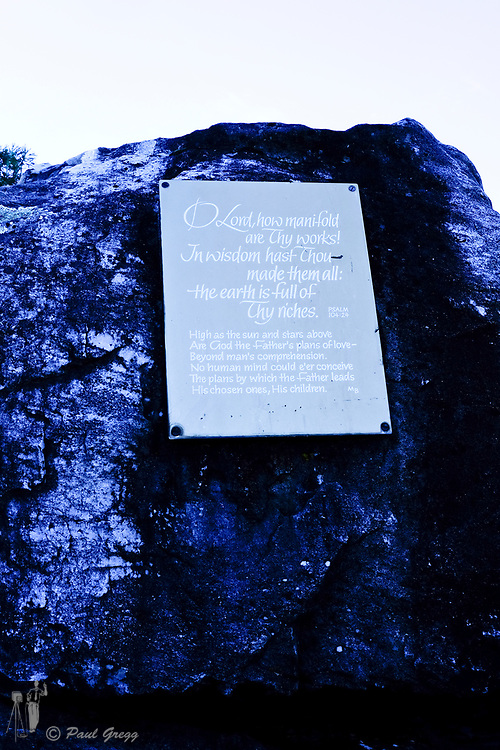 Table Mountain,Cape Town, South Africa. A sign with psalm 104:24 inscription on top of Table Mountain.