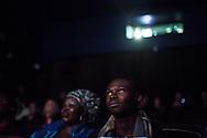 22102014. Paris. Cinéma le Louxor. Conférence de presse et projection d'un court-métrage réalisé par un collectif de cinéastes et destiné à obtenir la régularisation de 18 sans-papiers travaillant dans le salon de coiffure du 57 boulevard de Strasbourg en grève depuis trois mois.
