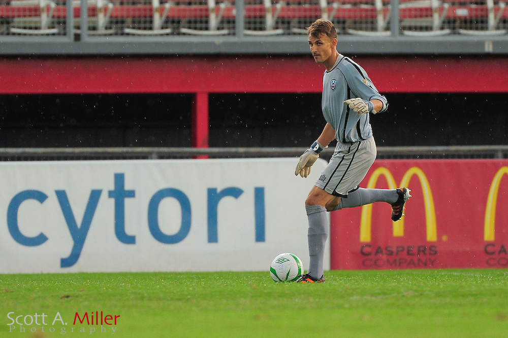 VSI Tampa Bay FC goalkeeper Alex Horwath (1) in action against the Phoenix FC Wolves in a USL Pro soccer match at Plant City stadium in Plant City, Florida on June 9, 2013.<br /> <br /> &copy;2013 Scott A. Miller