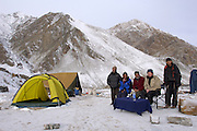India - Saturday, Dec 09 2006: Team photo at the end of the successful expedition to photograph snow leopards (Uncia uncia) in their natural environment in the Rumbak Valley, Hemis National Park. (Photo by Peter Horrell / http://www.peterhorrell.com)