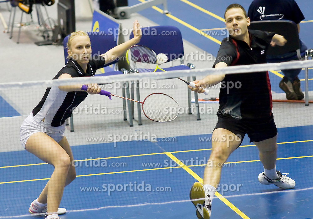 Tina Kodric and Luka Petric of Slovenia at badminton tournament Slovenia International 2011, on May 13, 2011, in Medvode, Slovenia. (Photo by Grega Valancic / Sportida)
