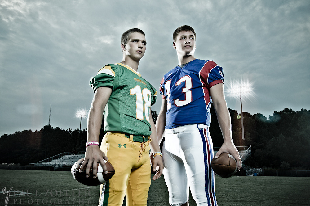 Summerville and Fort Dorchester quarterbacks photographed for the 2011 High School Football Preview for the Summerville Journal Scene.