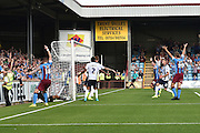 Scunthorpe celebrate thinking they had scored but it was dis allowed during the Sky Bet League 1 match between Scunthorpe United and Millwall at Glanford Park, Scunthorpe, England on 22 August 2015. Photo by Ian Lyall.