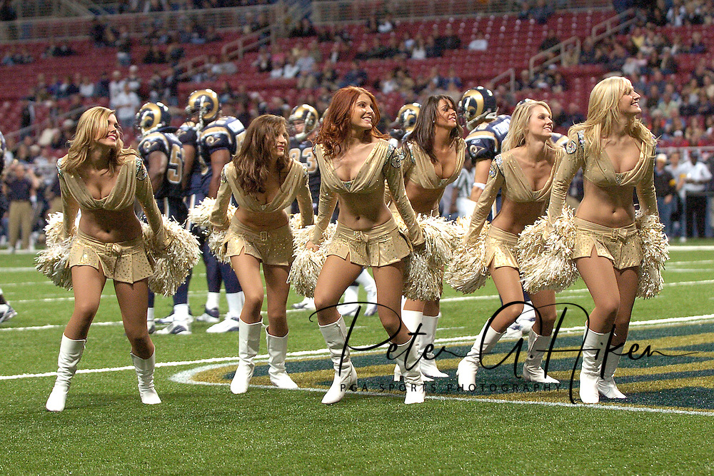Rams cheerleaders preform during a time-out at the Edward Jones Dome in St. Louis, Missouri, November 20, 2005.  The Cardinals beat the Rams 38-28.