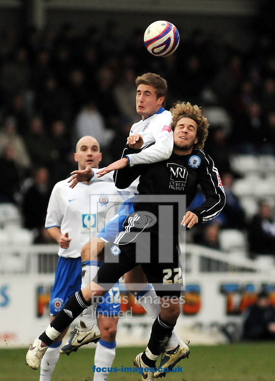 Hartlepool - Saturday March 7th, 2009: Gary Liddle of Hartlepool and  Sergio Torrres of Peterborough during the Coca Cola League One match at Victoria Park, Hartlepool. (Pic by Craig Leng/Focus Images)