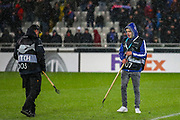 Club Brugge grounds staff work on the pitch ahead of the Europa League match between Club Brugge and Manchester United at Jan Breydel Stadion, Brugge, Belguim on 20 February 2020.
