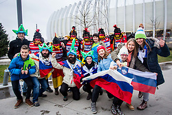 Slovenian and German fans before handball match between National teams of Germany and Montenegro on Day 2 in Preliminary Round of Men's EHF EURO 2018, on January 13, 2018 in Arena Zagreb, Zagreb, Croatia. Photo by Ziga Zupan / Sportida