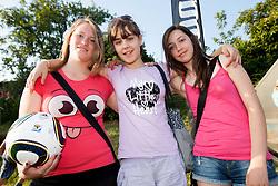 Dekleta na dobrodelni nogometni tekmi SD Bilje, katere izkupicek  je namenjen Zavodu Lu ter Fundaciji Vrabcek upanja, on June 22, 2012 in Bilje pri Novi Gorici, Slovenia. (Photo by Vid Ponikvar / Sportida.com)
