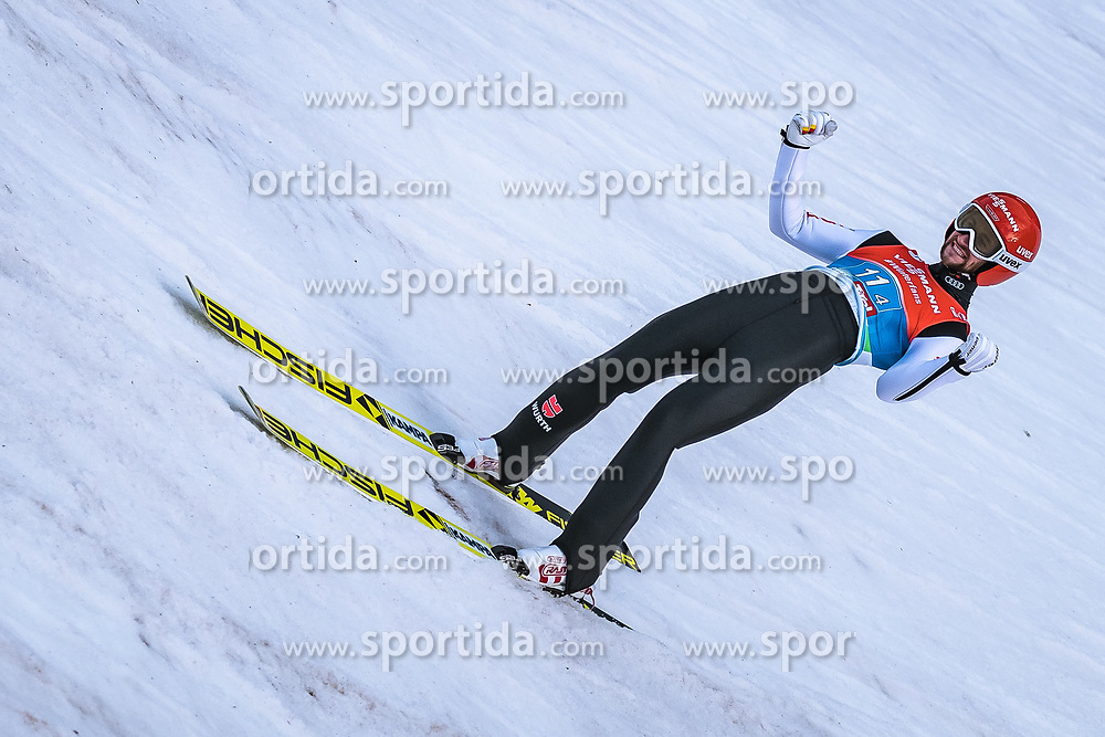 24.02.2019, Bergiselschanze, Innsbruck, AUT, FIS Weltmeisterschaften Ski Nordisch, Seefeld 2019, Skisprung, Herren, Teambewerb, Wertungssprung, im Bild Markus Eisenbichler (GER) // Markus Eisenbichler of Germany during the competition jump for the men's skijumping Team competition of FIS Nordic Ski World Championships 2019 at the Bergiselschanze in Innsbruck, Austria on 2019/02/24. EXPA Pictures © 2019, PhotoCredit: EXPA/ Dominik Angerer