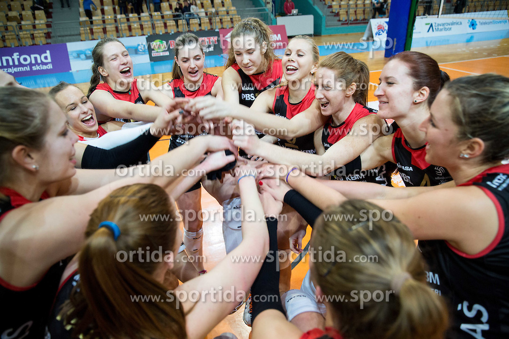Players of OK Nova KBM Branik celebrate after winning during final match of MEVZA League 2014/15 against Calcit Volley, on February 20, 2015 in Dvorana Lukna, Maribor, Slovenia. Photo by Vid Ponikvar / Sportida