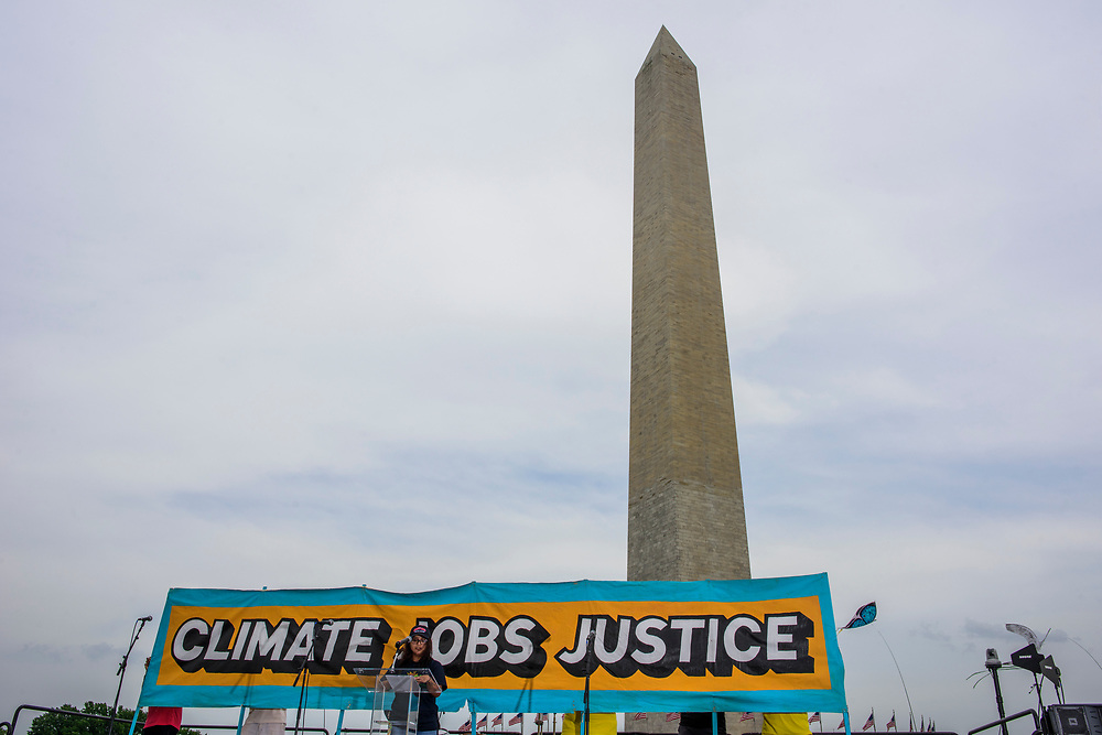 Washington, D.C. - April 29, 2017: Johana Vicente, a community organizer with Chispa Maryland speaks during the rally at the end of the People's Climate Movement in Washington D.C. Saturday April 29, 2017. <br /> <br /> <br /> CREDIT: Matt Roth for The League of Conservation Voters