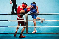 Tomi Lorencic of Slovenia (BLUE) fights against Marcel Meinl of Austria (RED) in Elite 64 kg Category<br />  during Dejan Zavec Boxing Gala event in Sentilj, on September 30, 2017 in Mond, Casino & Hotel, Sentilj, Slovenia. Photo by Vid Ponikvar / Sportida
