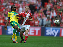 Norwich Cameron Jerome battles with Middlesbrough Grant Leadbitter, Middlesbrough v Norwich, Sky Bet Championship, Play Off Final, Wembley Stadium, Monday  25th May 2015