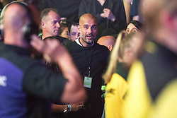 © Licensed to London News Pictures . 09/09/2017. Manchester , UK . Manchester City FC Manager PEP GUARDIOLA in the audience . We Are Manchester reopening charity concert at the Manchester Arena with performances by Manchester artists including  Noel Gallagher , Courteeners , Blossoms and the poet Tony Walsh . The Arena has been closed since 22nd May 2017 , after Salman Abedi's terrorist attack at an Ariana Grande concert killed 22 and injured 250 . Money raised will go towards the victims of the bombing . Photo credit: Joel Goodman/LNP