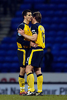 Photo: Jed Wee.<br />Bolton Wanderers v Wigan Athletic. The FA Barclaycard Premiership. 04/02/2006.<br />Bolton's Paul Scharner (L) with captain Arjan De Zeeuw.