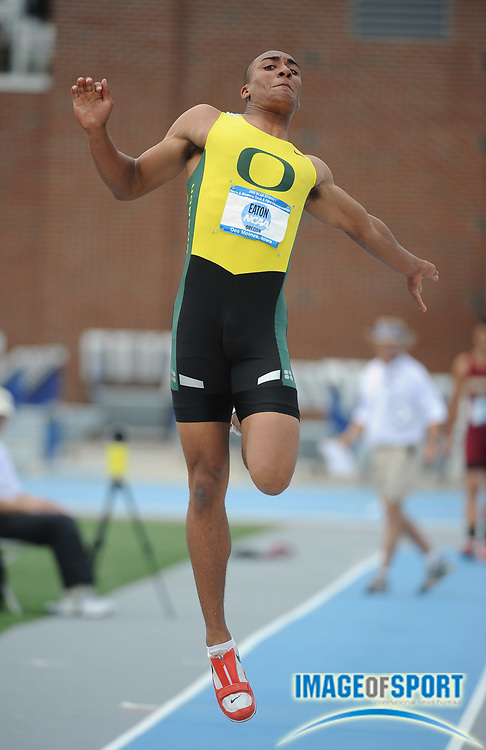Jun 11, 2008; Des Moines, IA; Ashton Eaton of Oregon had the top mark in the decathlon long jump of 25-2 1/2 (7.68m) for 980 points in the NCAA Track & Field Championships at Drake Stadium. Eaton won with 8,055 points.