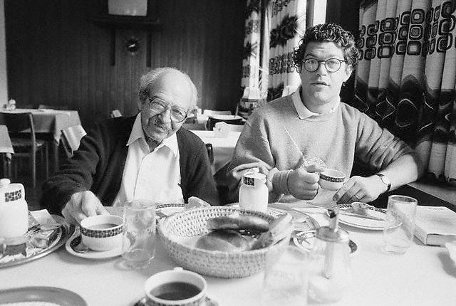 June 1991, Titisee, Germany --- Al Franken and Father Having a Meal Together --- Image by © Owen Franken/CORBIS