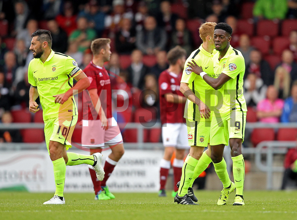 Rakish Bingham of Hartlepool United celebrates his goal - Mandatory byline: Robbie Stephenson/JMP - 07966 386802 - 10/10/2015 - FOOTBALL - Sixfields Stadium - Northampton, England - Northampton Town v Hartlepool - Sky Bet League Two