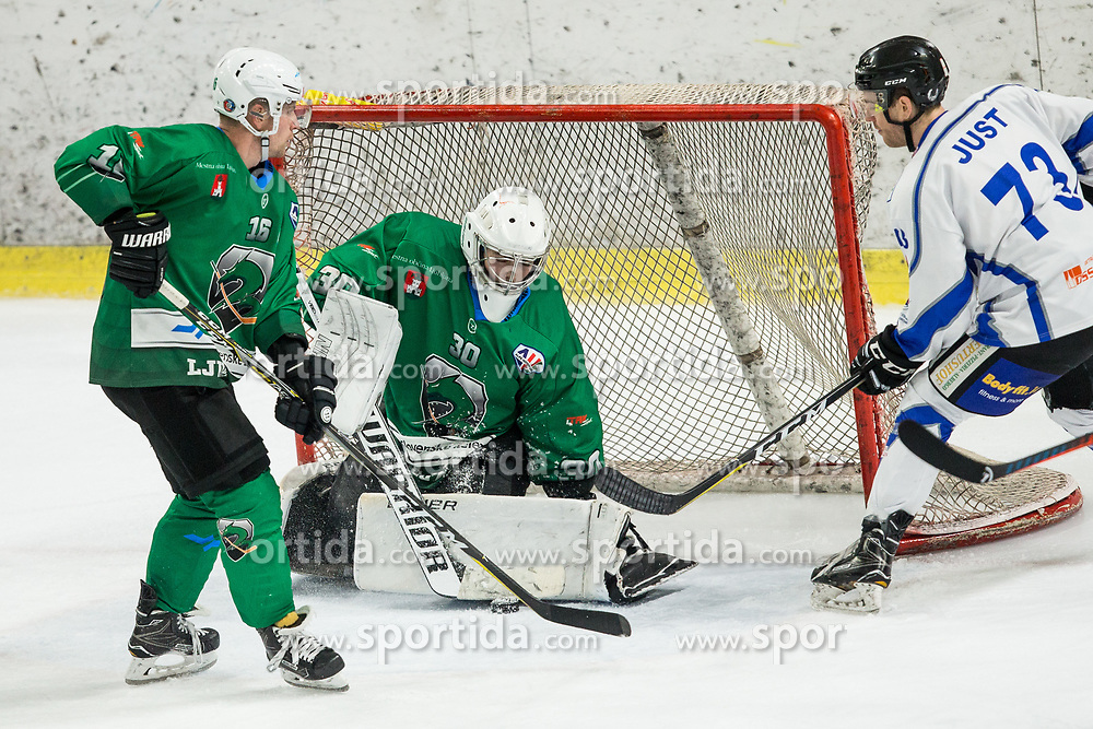 Tilen Spreitzer of SZ Olimpija vs Kyle Just  of Broncos  during ice hockey match between HK SZ Olimpija and WSV Sterzing Broncos Weihenstephan (ITA) in Round #12 of AHL - Alps Hockey League 2018/19, on October 30, 2018, in Hala Tivoli, Ljubljana, Slovenia. Photo by Vid Ponikvar / Sportida