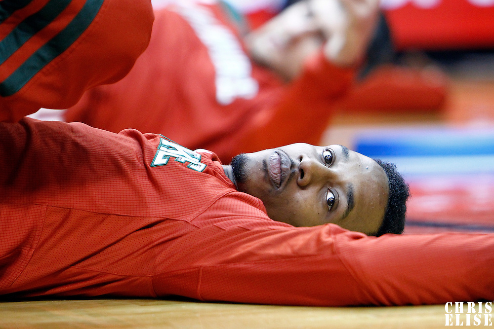 22 January 2012: Milwaukee Bucks point guard Brandon Jennings (3) stretches prior to the Milwaukee Bucks 91-82 victory over the Miami Heat at the AmericanAirlines Arena, Miami, Florida, USA.