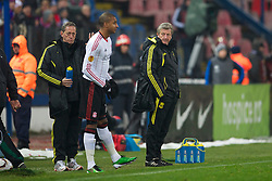 BUCHAREST, ROMANIA - Thursday, December 2, 2010: Liverpool's manager Roy Hodgson prepares to bring on substitute David Ngog against FC Steaua Bucuresti the UEFA Europa League Group K match at the Stadionul Steaua. (Pic by: David Rawcliffe/Propaganda)