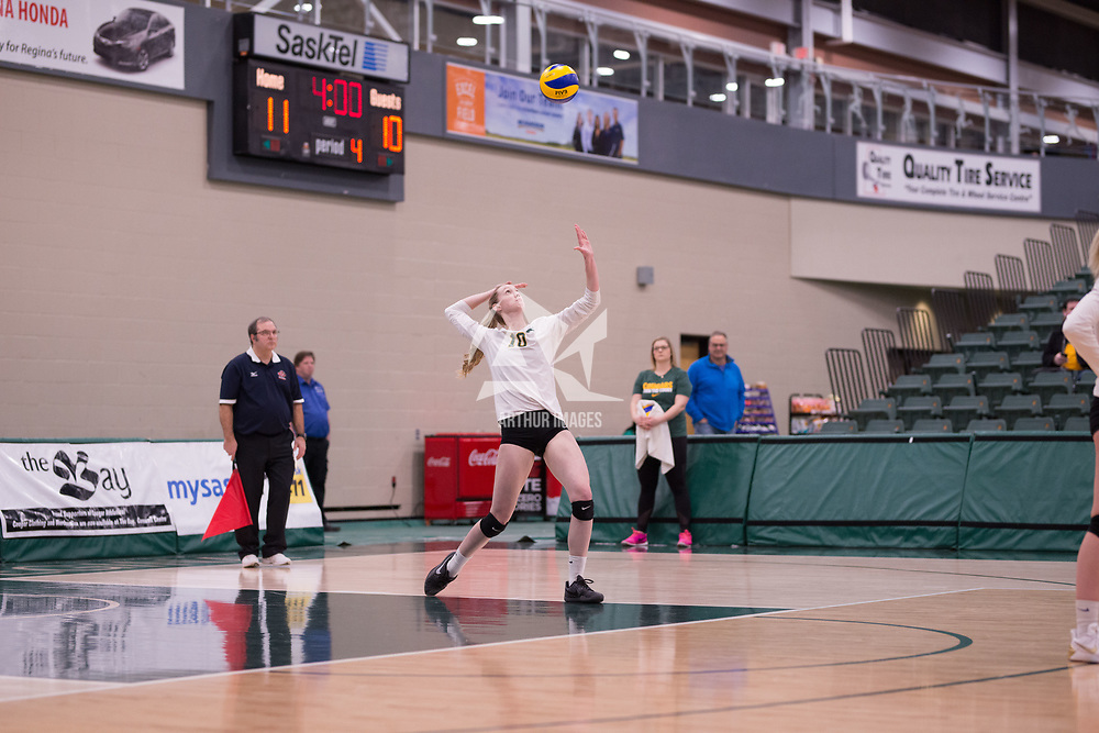 2nd year middle blocker Brooklyn Reynolds (10) of the Regina Cougars in action during Women's Volleyball home game on February 2 at Centre for Kinesiology, Health and Sport. Credit: Arthur Ward/Arthur Images