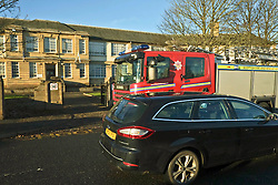 Penicuik High School was evacuated this afternoom during the N5 History prelim exams. The students and staff had to stand outside nin ear freezing temperatures until the Fire Service had checked the building and gve the all clear.  The fire was started in one of the boys toilets and there were concerns over toxic fumes.<br /> <br /> (c) Ger HArley | Edinburgh Elite media