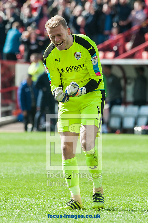 Barnsley goalkeeper Adam Davies celebrates Angus MacDonald's late equalizer during the Sky Bet Championship match at Oakwell, Barnsley<br /> Picture by Matt Wilkinson/Focus Images Ltd 07814 960751<br /> 01/04/2017