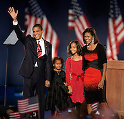 11/4/08 8:31:38 PM -- Chicago, IL<br /> Barack Obama and family take the stage int Grant Parka.<br /> <br /> <br /> Photo by John Zich, USA TODAY contract photographer